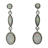 Sterling Silver White Lab Opal Drop Post Earrings