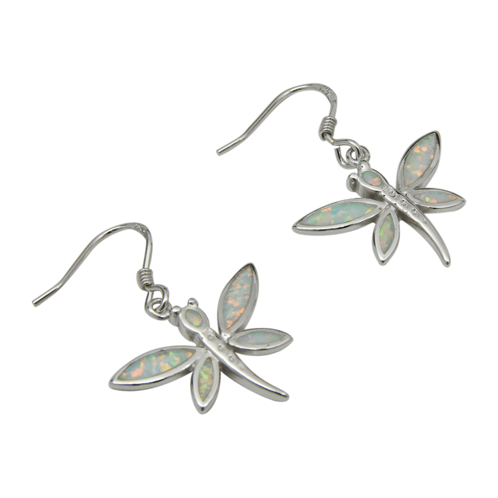 Sterling Silver White Lab Opal Dragonfly Dangle Earrings
