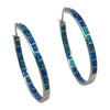 Sterling Silver Blue Lab Opal Large Hoop Earrings