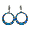 Sterling Silver Blue Lab Opal & CZ Round Hoop Post Earrings