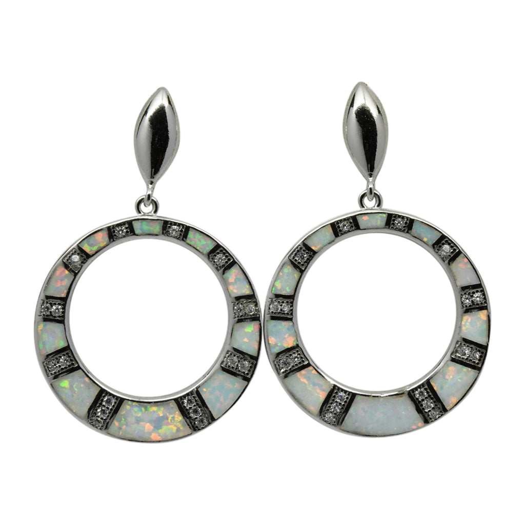 Sterling Silver White Lab Opal & CZ Round Hoop Post Earrings