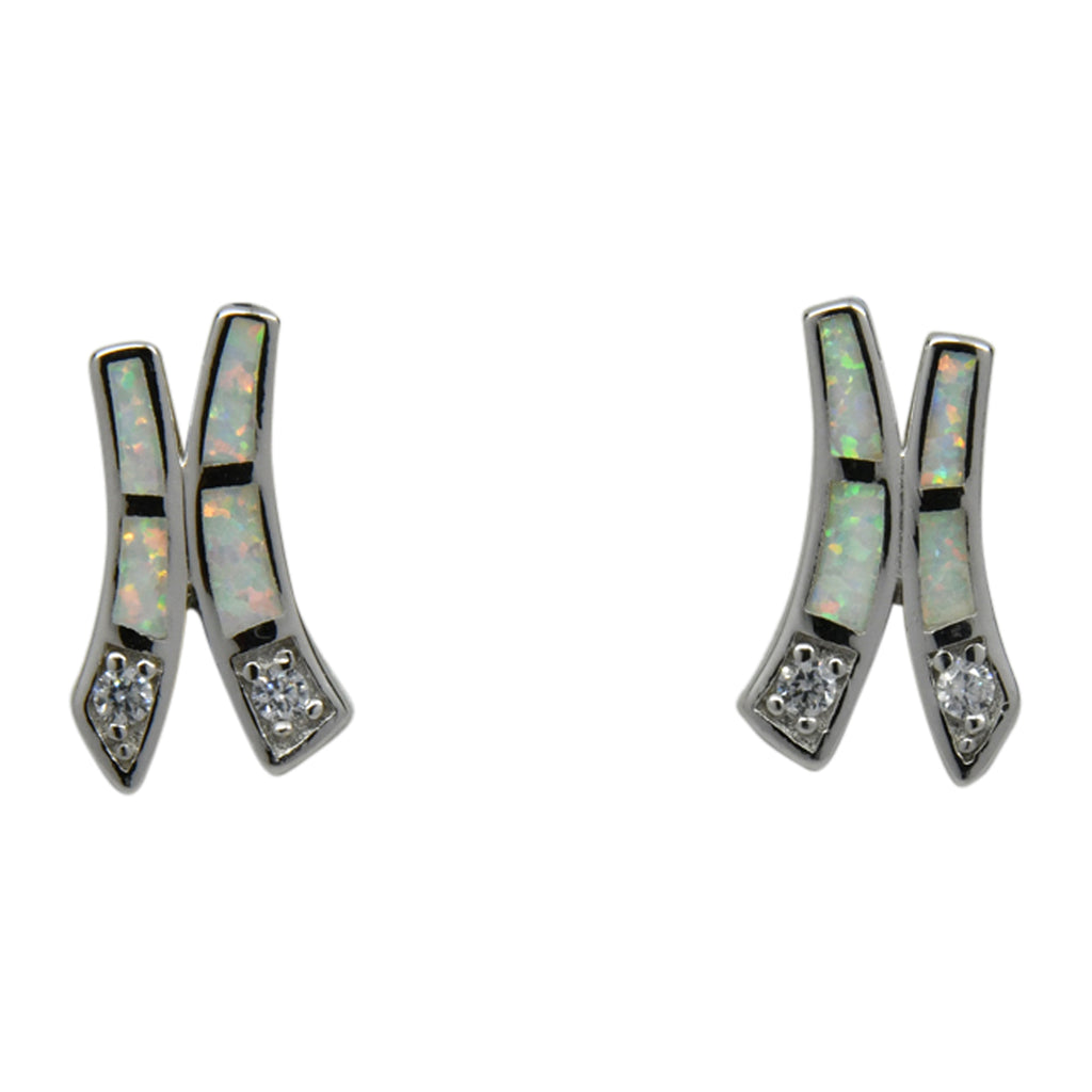 Sterling Silver White Lab Opal & CZ Inlay Post Earrings