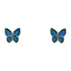 Sterling Silver Blue Lab Opal Butterfly Stud Earrings