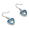 Sterling Silver Blue Lab Opal Heart Cut Out Dangle Earrings
