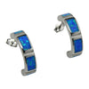 Sterling Silver Blue Lab Opal Rectangle Inlay Hoop Earrings