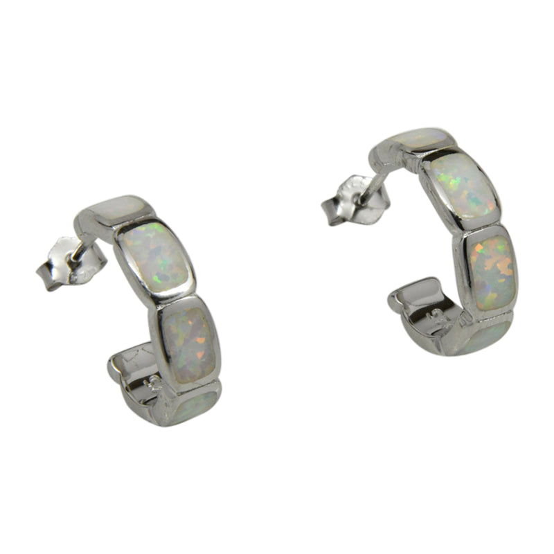 Sterling Silver White Lab Opal Rectangle Hoop Huggie Earrings