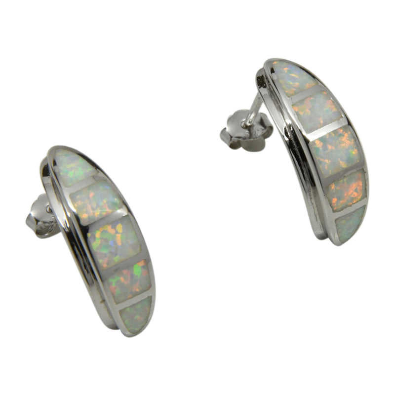 Sterling Silver White Lab Opal Hoop Earrings
