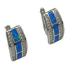 Sterling Silver Blue Lab Opal & CZ Earrings