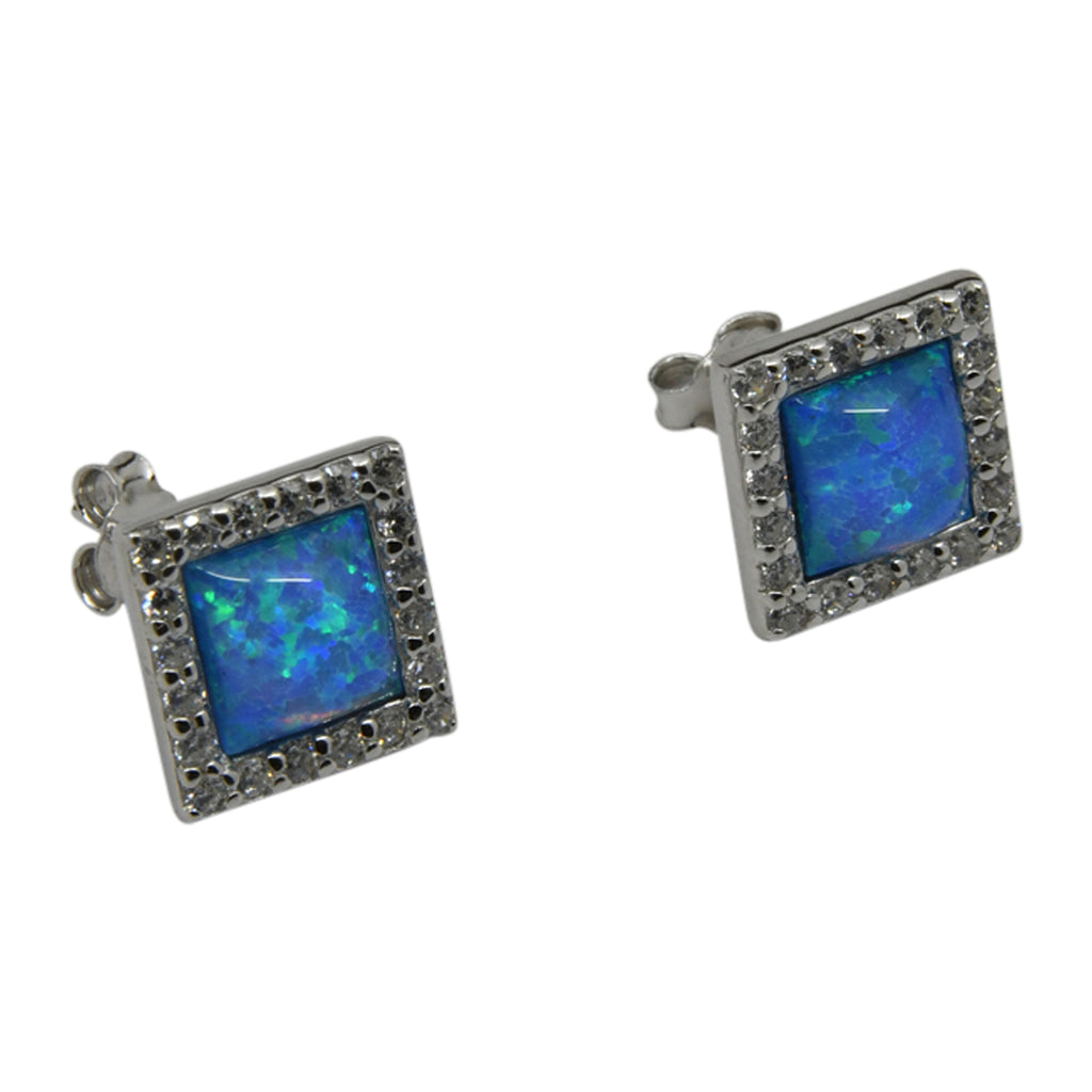 Sterling Silver Blue Lab Opal & CZ Square Post Earrings