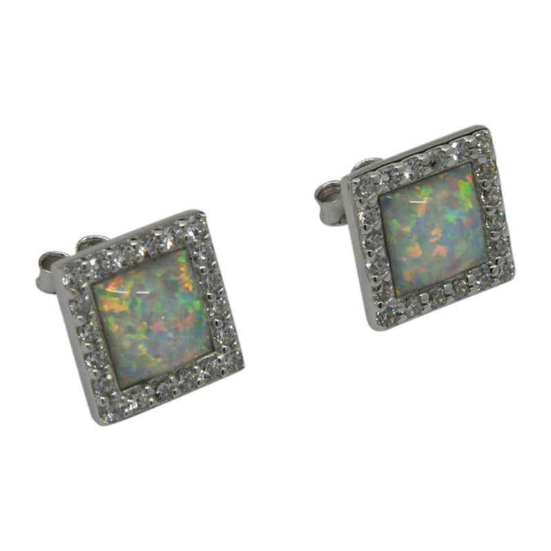 Sterling Silver White Lab Opal & CZ Square Post Earrings