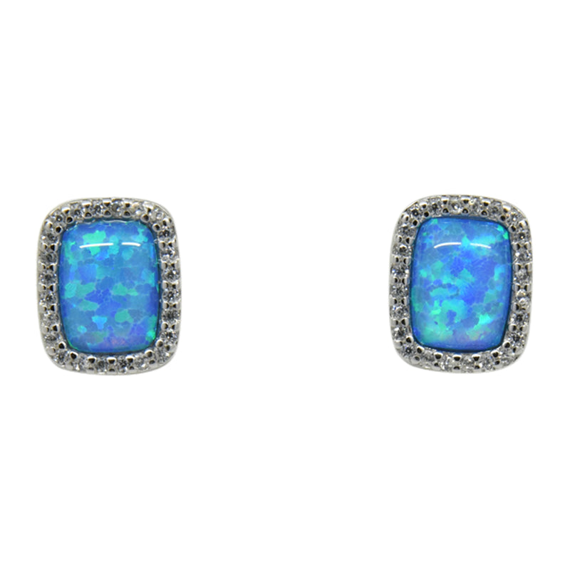 Sterling Silver Blue Lab Opal & CZ Rectangle Post Earrings