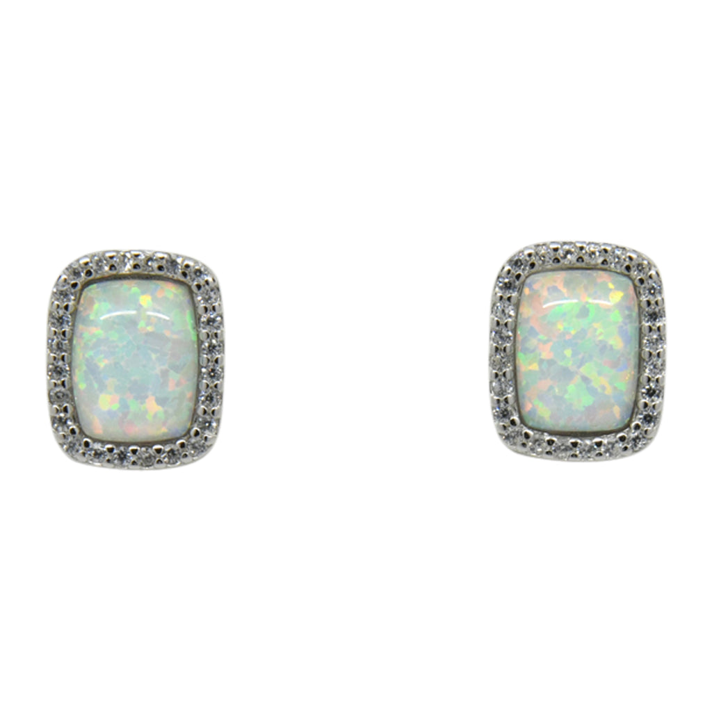 Sterling Silver White Lab Opal & CZ Rectangle Post Earrings