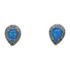 Sterling Silver Blue Lab Opal & CZ Tear Drop Post Earrings