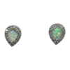 Sterling Silver White Lab Opal & CZ Tear Drop Post Earrings