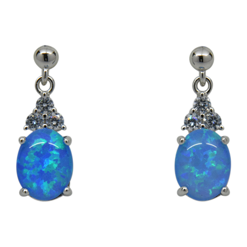 Sterling Silver Blue Lab Opal & CZ Prong Set Post Earrings