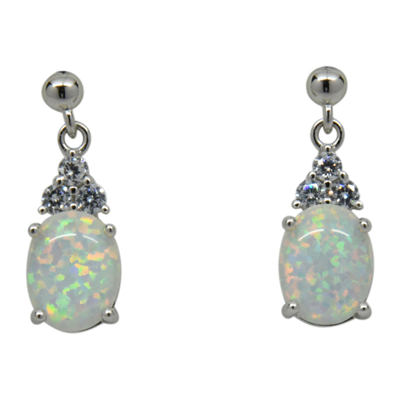 Sterling Silver White Lab Opal & CZ Prong Set Post Earrings