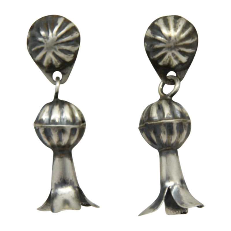 Lenora Garcia Sterling Silver Navajo Squash Blossom Post Earrings