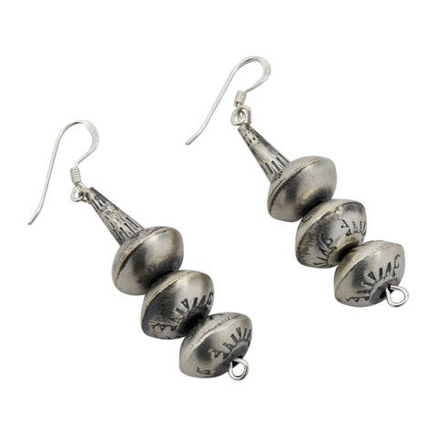 Monica Smith Sterling Silver Navajo Squash Blossom Small Stamped Dangle Earrings