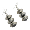 Sophia Becenti Sterling Silver Large 3 Bead Stamped Navajo Pearl Earrings