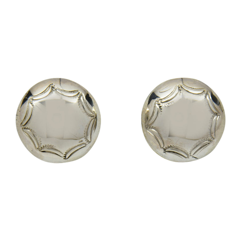 Esther White Sterling Silver Navajo Round Domed Stamped Earrings 5/8""