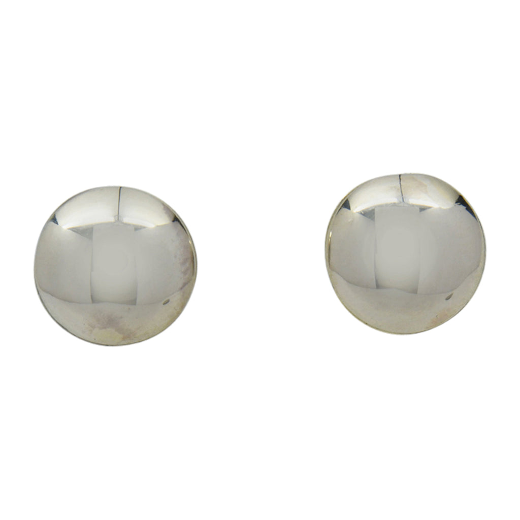 Esther White Sterling Silver Navajo Round Domed Plain Earrings 1/2""