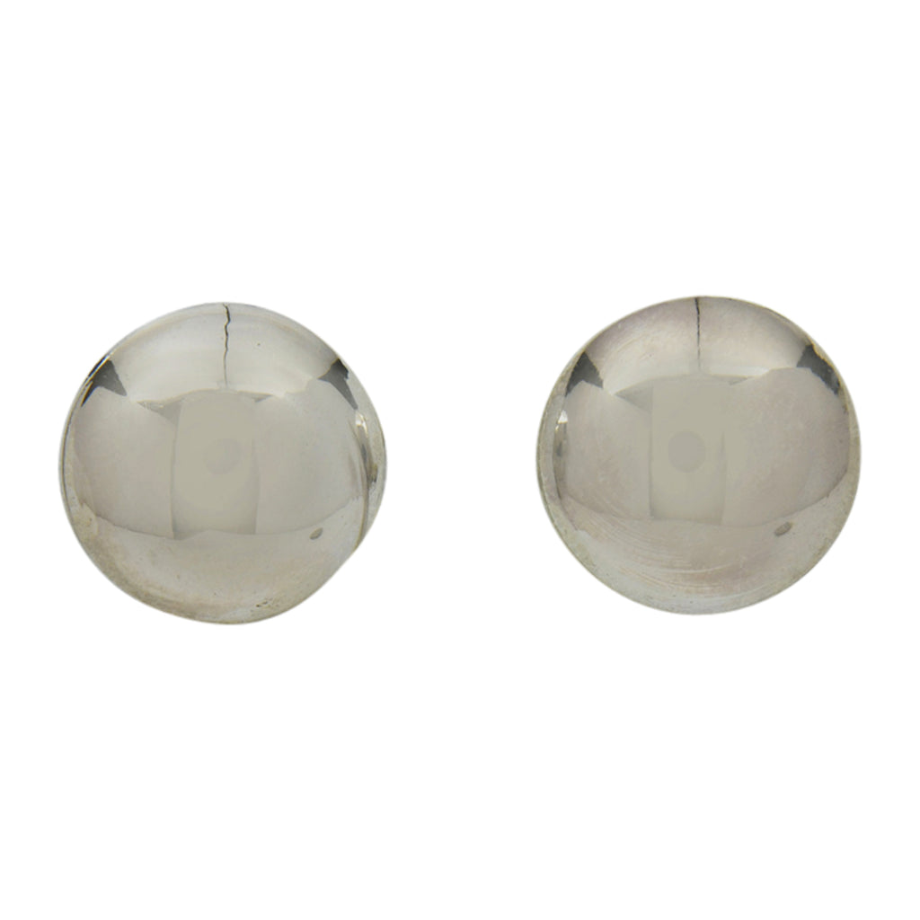 Esther White Sterling Silver Navajo Round Domed Plain Earrings 5/8""