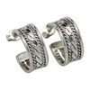 Sterling Silver Elaine Tahe Double Rope Hoop Earrings 5/8""