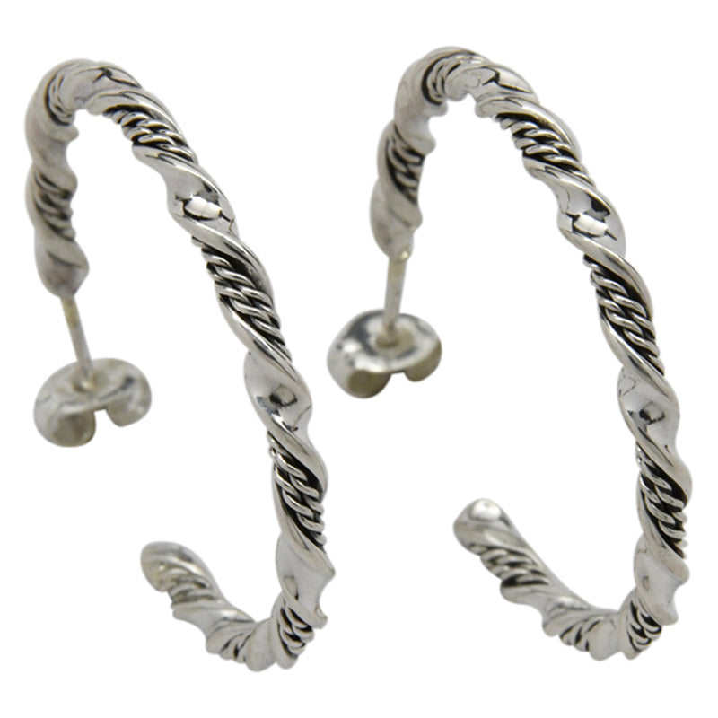 Sterling Silver Elaine Tahe Plain & Rope Twist Hoop Navajo Earrings 1.25""
