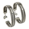 Sterling Silver Elaine Tahe Flat Coil Hoop Navajo Earrings 1-1/8""