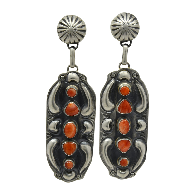 Jeff James Jr Sterling Silver Navajo Red Spiny Oyster 5 Stone Repousse Post Earrings