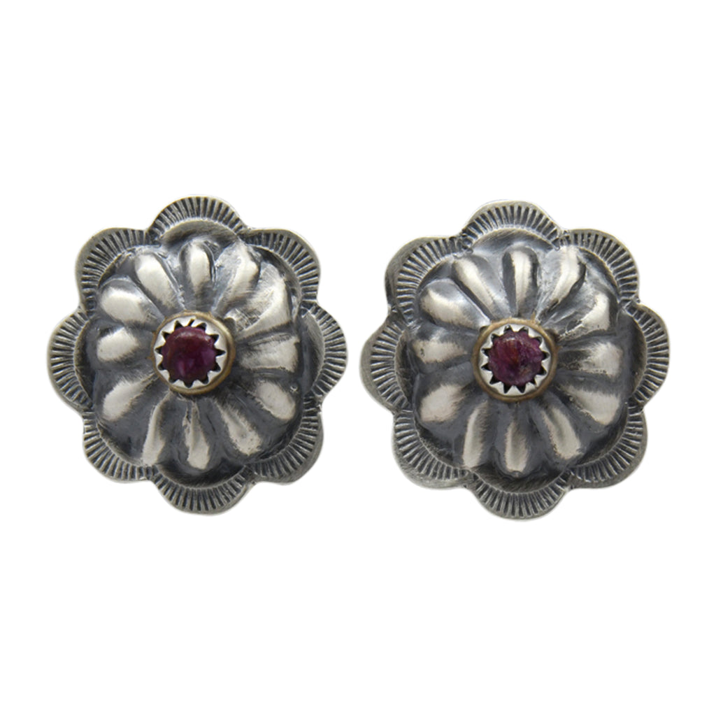 Ryan Begay Purple Spiny Oyster Navajo Concho Round Post Earrings