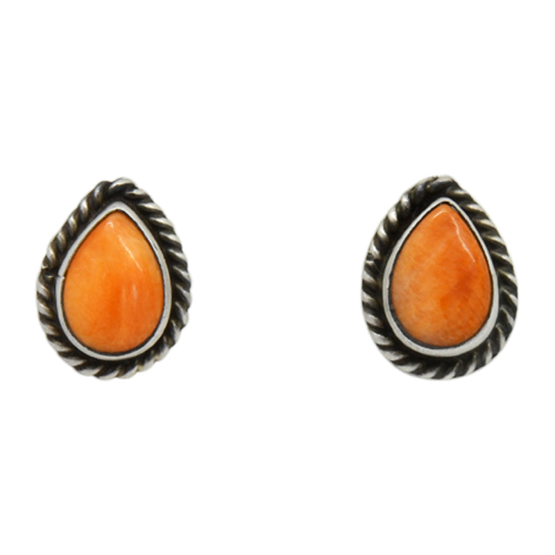 Oxodized Sterling Silver Orange Spiny Oyster Tear Drop Rope Design Navajo Earrings