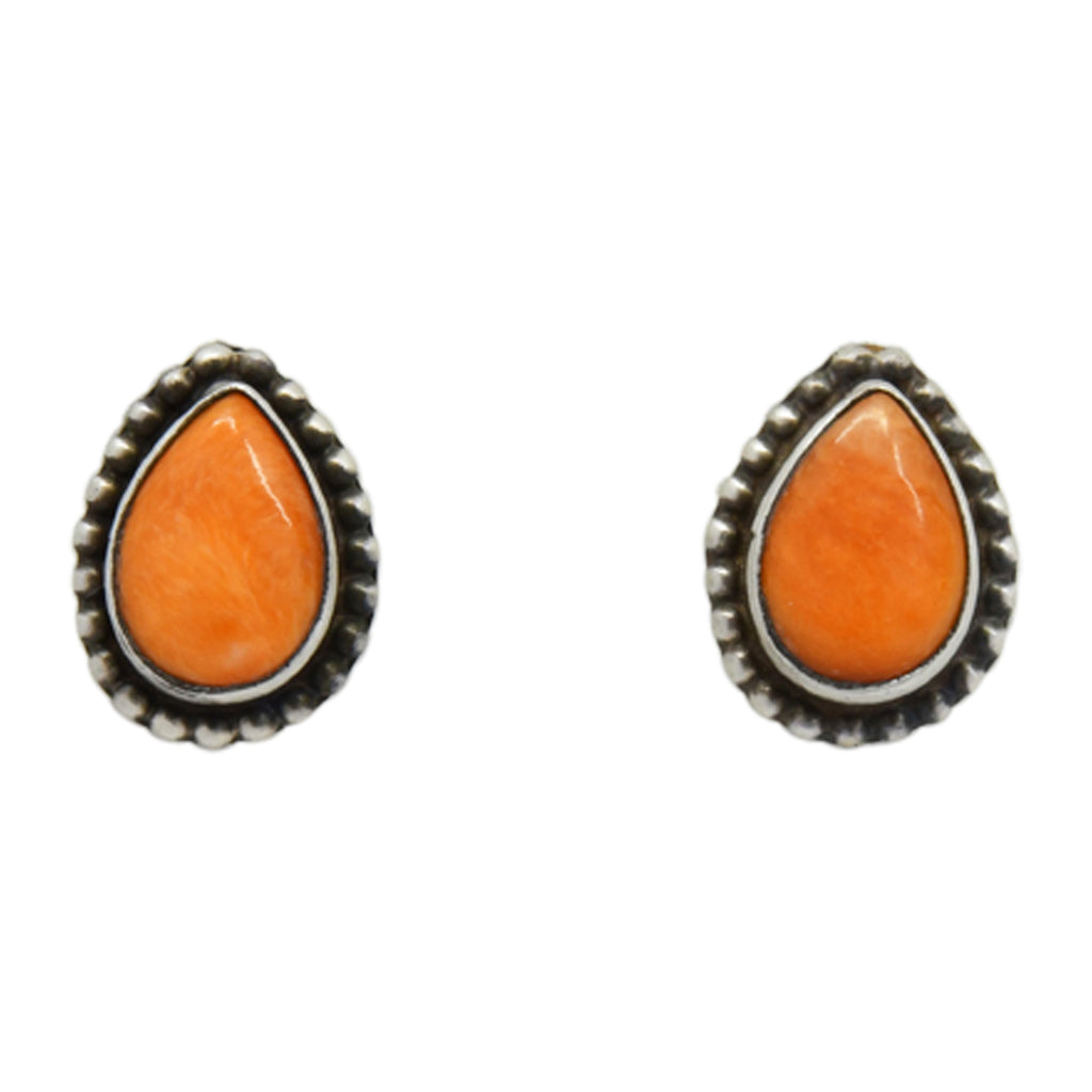 Oxodized Sterling Silver Orange Spiny Oyster Tear Drop Bead Design Navajo Earrings