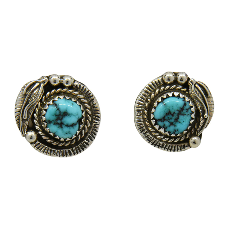 Esther White Sterling Silver Navajo Turquoise Leaf Post Earrings