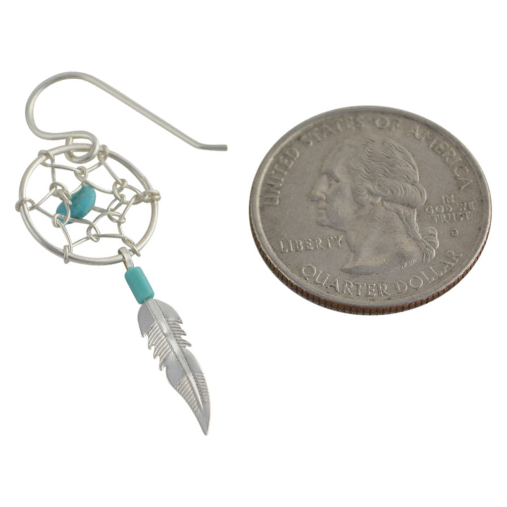 Sterling Silver Turquoise Dream Catcher Earrings