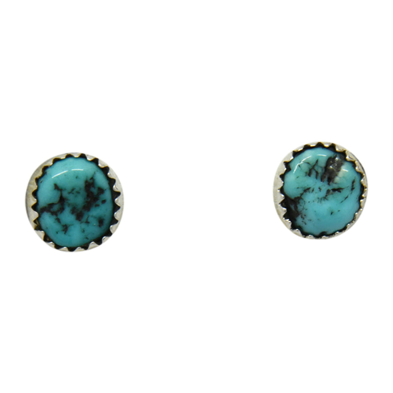 Esther White Sterling Silver Navajo Turquoise Nugget Post Earrings