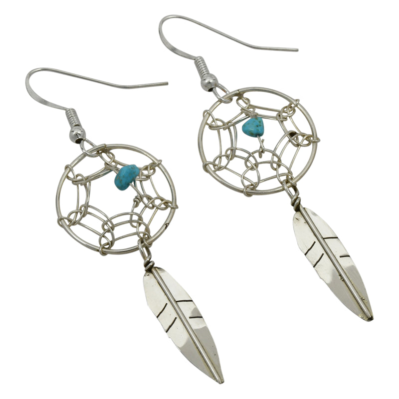 Lorenzo Arviso Jr Sterling Silver Native American Navajo Turquoise Dreamcatcher Earrings