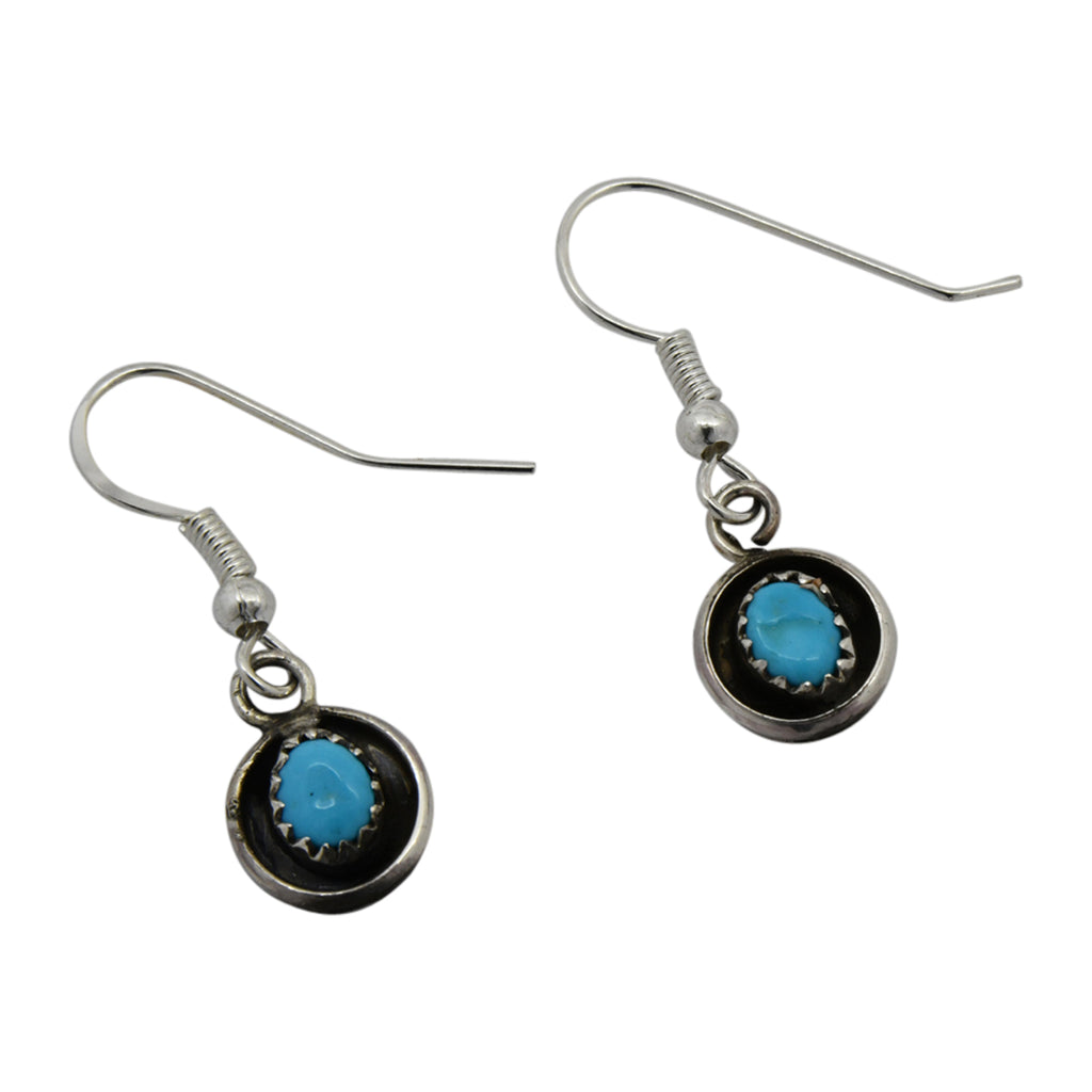 Phil & Lenora Garcia Sterling Silver Turquoise Shadow Box Navajo Earrings