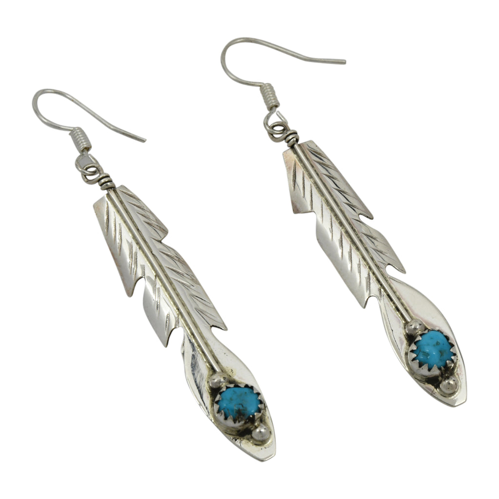 Juan Begay Sterling Silver Navajo Turquoise Feather Dangle Earrings