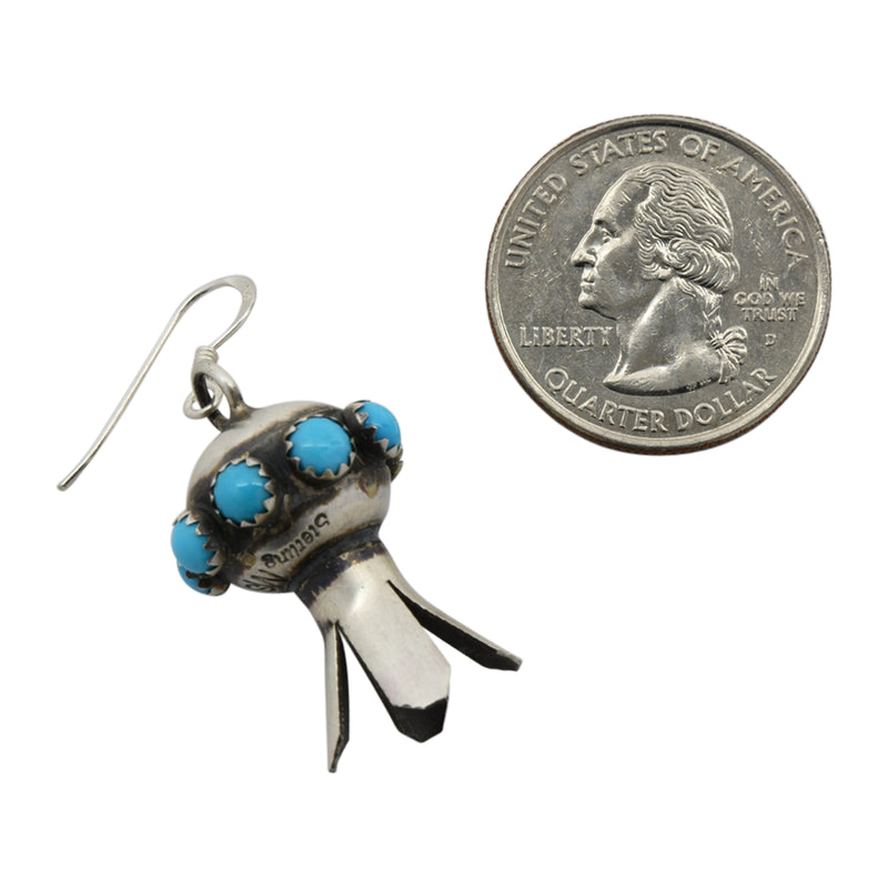 Monica Smith Sterling Silver Turquoise Mini Blossom Navajo Earrings