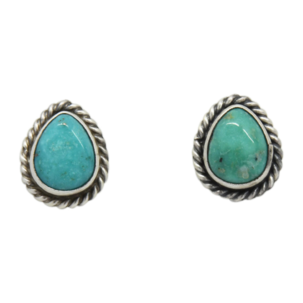 Oxodized Sterling Silver Turquoise Tear Drop Rope Design Navajo Earrings