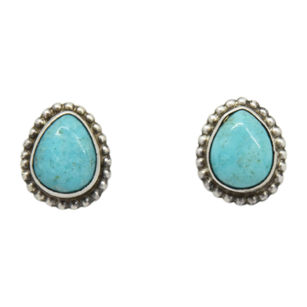 Oxodized Sterling Silver Turquoise Tear Drop Bead Design Navajo Earrings