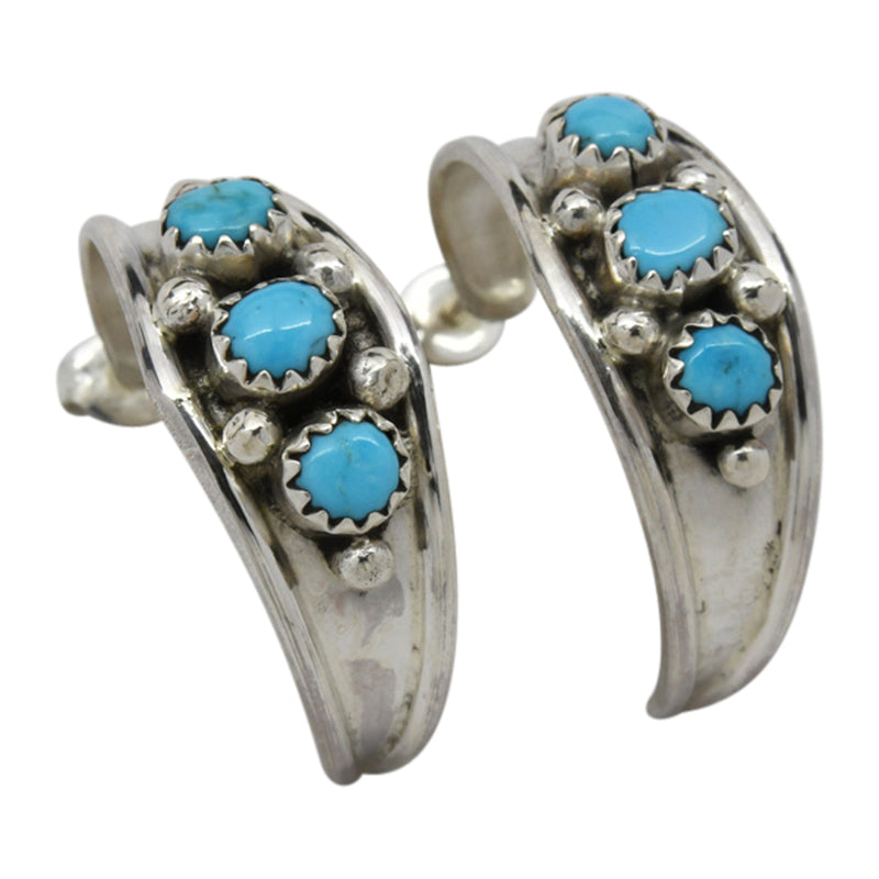 Virginia Cadman 3-Stone Turquoise Hoop Earrings Sterling Silver Navajo
