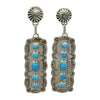Jeff James Jr Sterling Silver Navajo Turquoise 5 Stone Stamped Post Earrings