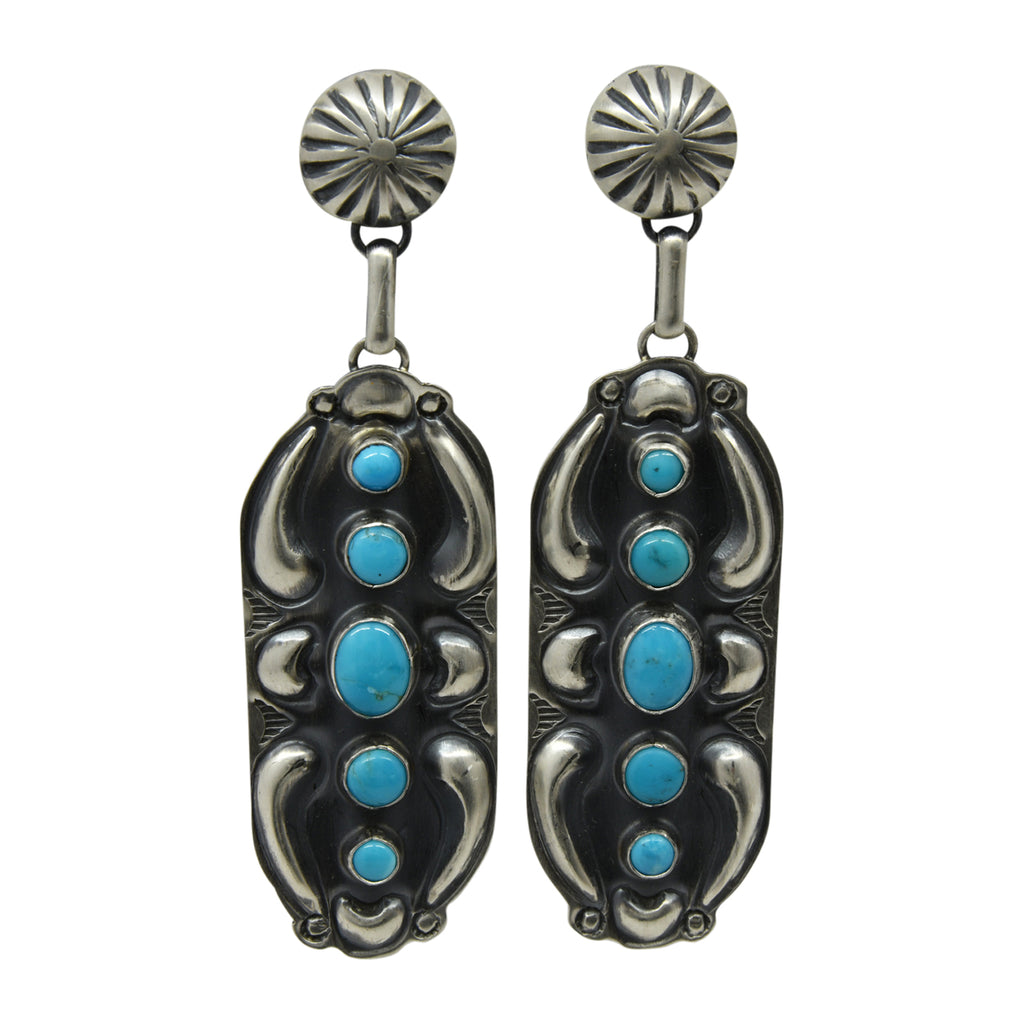 Jeff James Jr Sterling Silver Navajo Turquoise 5 Stone Repousse Post Earrings