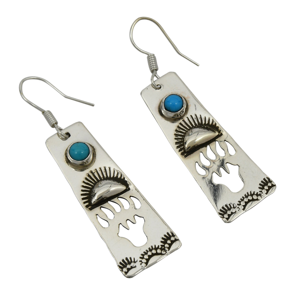 Jeff James Jr Sterling Silver Navajo Turquoise Bear Paw Cut Out Earrings