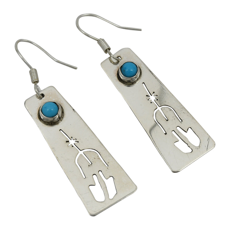 Jeff James Jr Sterling Silver Native American Navajo Turquoise Cut Out Earrings