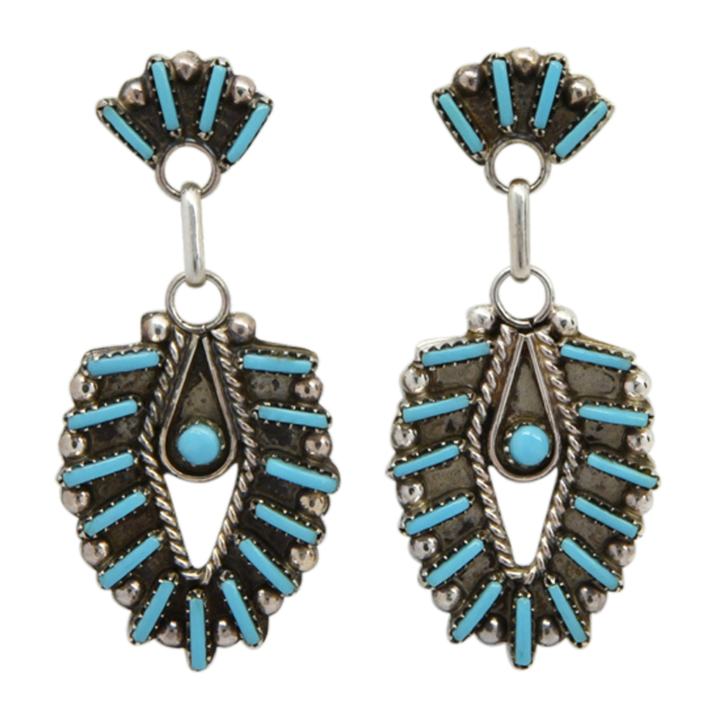 Philander Gia Sterling Silver Turquoise Needlepoint Zuni Earrings