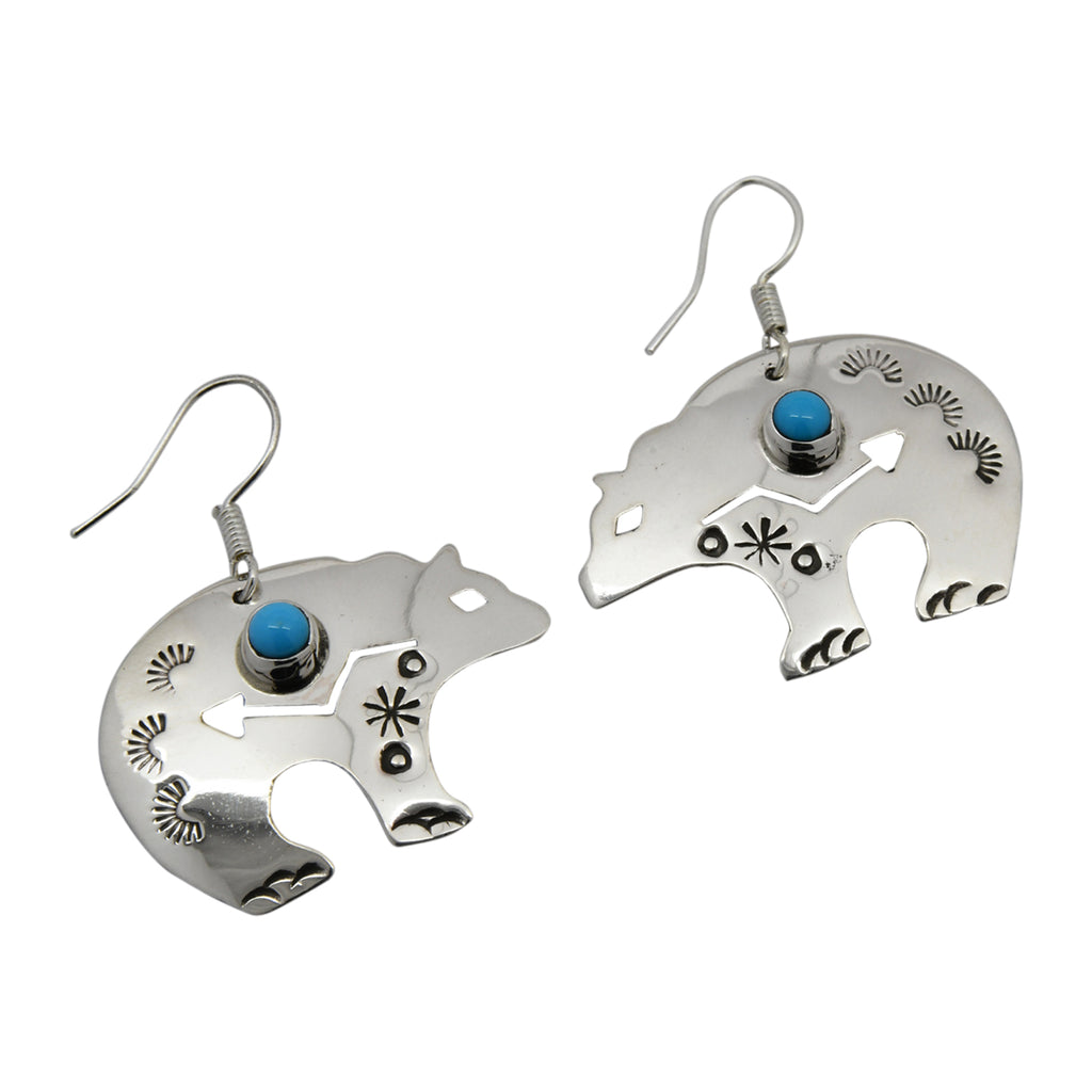 Jeff James Jr Sterling Silver Turquoise Bear Navajo Earrings