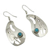 Jeff James Jr Sterling Silver Navajo Turquoise Eagle Feather Kidney Shape Earrings